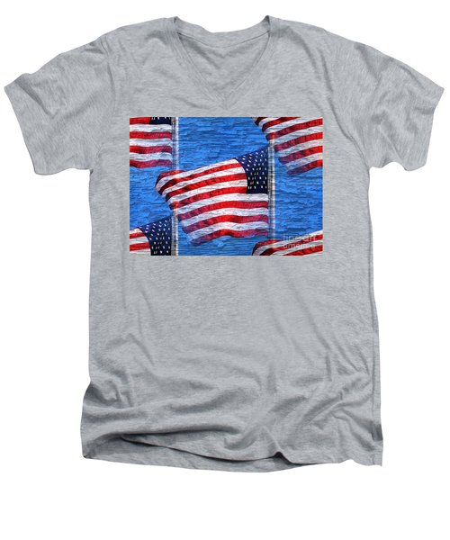 Men's V-Neck T-Shirt featuring the photograph Vintage Amercian Flag Abstract by Judy Palkimas