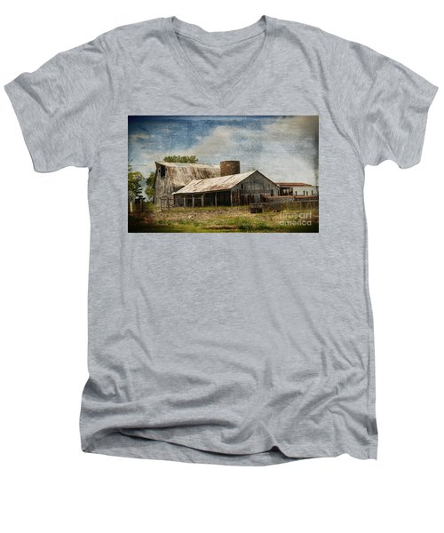 Barn -vintage Barn With Brick Silo - Luther Fine Art Men's V-Neck T-Shirt by Luther Fine Art