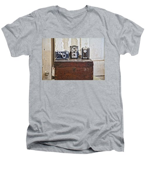 Vintage Cameras At Warehouse 54 Men's V-Neck T-Shirt