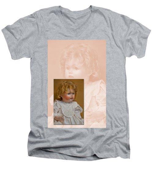Vintage Doll Beauty Art Prints Men's V-Neck T-Shirt by Valerie Garner