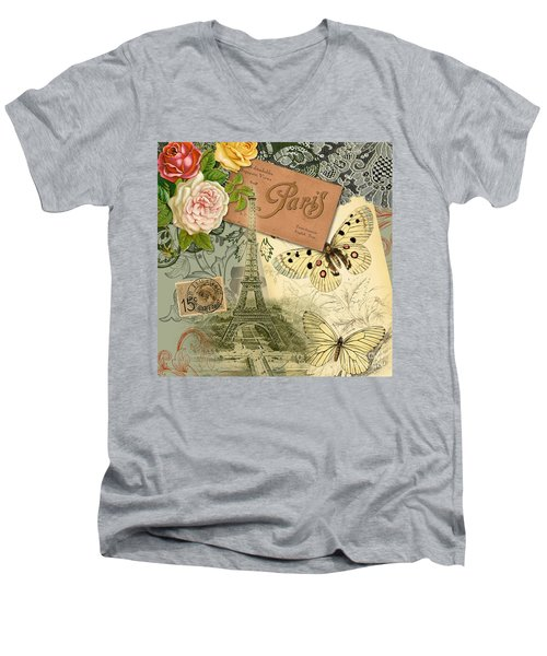 Vintage Eiffel Tower Paris France Collage Men's V-Neck T-Shirt