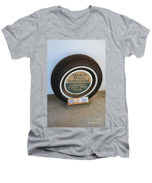 Men's V-Neck T-Shirt featuring the photograph Vintage Gulf Tire With Ad Plate by Lesa Fine