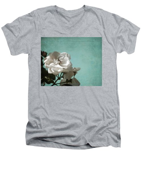 Men's V-Neck T-Shirt featuring the photograph Vintage Inspired White Roses On Aqua Blue Green - by Brooke T Ryan