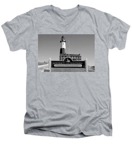 Vintage Looking Montauk Lighthouse Men's V-Neck T-Shirt by John Telfer