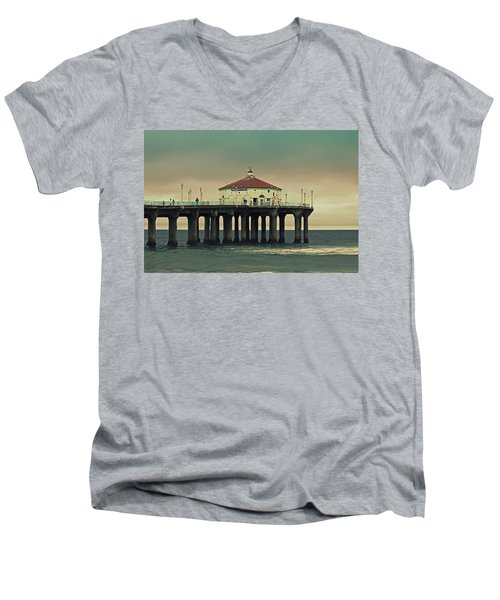 Vintage Manhattan Beach Pier Men's V-Neck T-Shirt