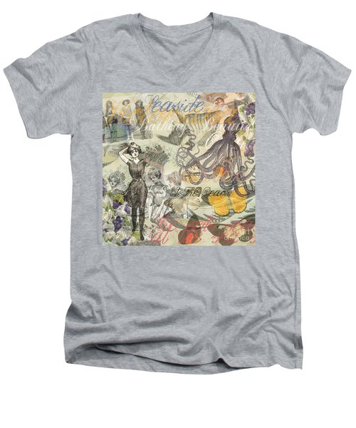 Vintage Octopus And Bathing Beauties Men's V-Neck T-Shirt