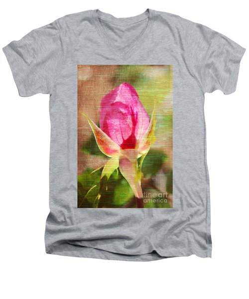 Men's V-Neck T-Shirt featuring the photograph Vintage Pink Rose Bud by Judy Palkimas