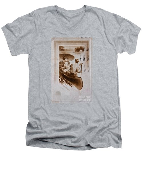 Vintage Post Card Of Couple In Boat Art Prints Men's V-Neck T-Shirt by Valerie Garner