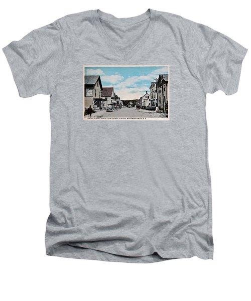 Vintage Postcard Of Wolfeboro New Hampshire Art Prints Men's V-Neck T-Shirt by Valerie Garner