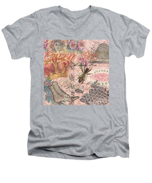 Vintage Queen Bee Collage  Men's V-Neck T-Shirt