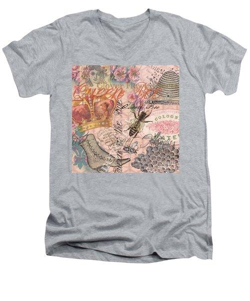 Vintage Queen Bee Collage  Men's V-Neck T-Shirt
