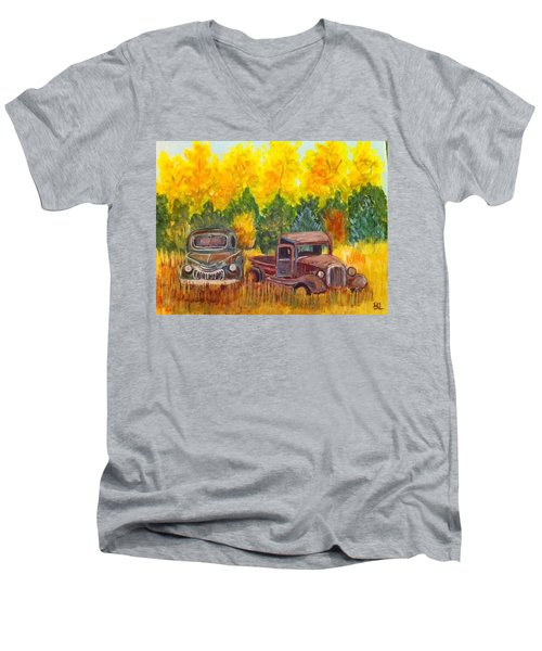 Vintage Trucks Men's V-Neck T-Shirt by Belinda Lawson