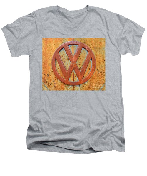 Vintage Volkswagen Bus Logo Men's V-Neck T-Shirt by Catherine Sherman