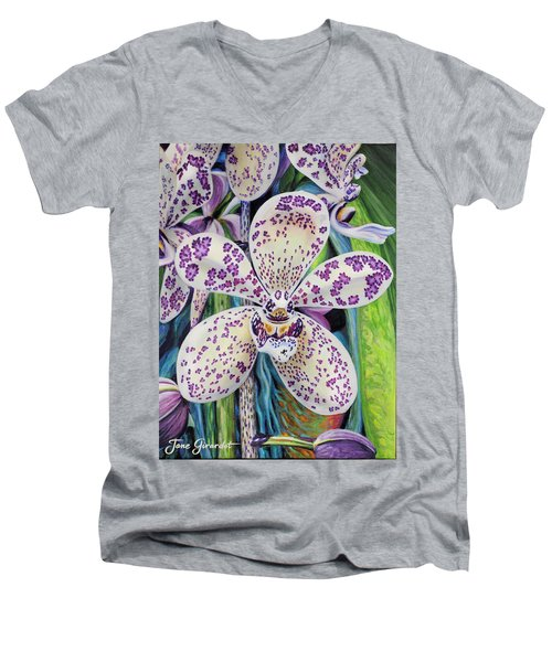 Violet Dotted Orchid Men's V-Neck T-Shirt by Jane Girardot