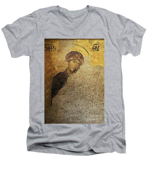 Virgin Mary-detail Of Deesis Mosaic  Hagia Sophia-day Of Judgement Men's V-Neck T-Shirt