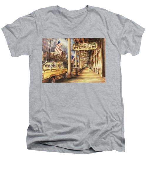 Virginia City Nevada - Western Art Painting Men's V-Neck T-Shirt