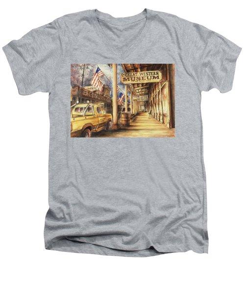 Virginia City Nevada - Western Art Painting Men's V-Neck T-Shirt