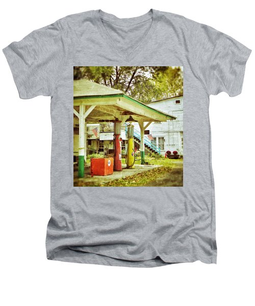 Men's V-Neck T-Shirt featuring the photograph Visible Gas Pumps by Jean Goodwin Brooks