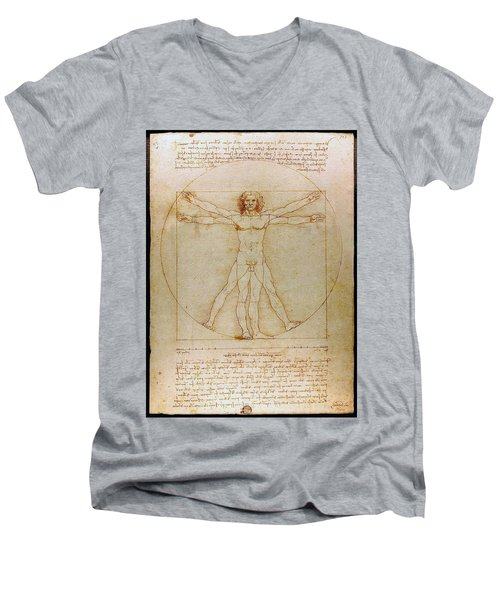 Vitruvian Man By Leonardo Da Vinci  Men's V-Neck T-Shirt by Karon Melillo DeVega