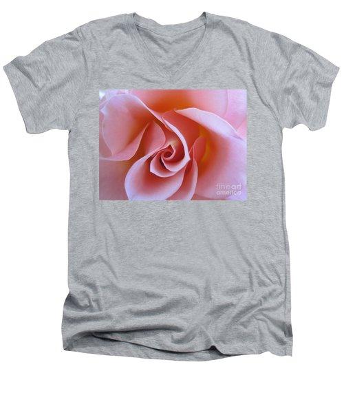 Vivacious Pink Rose Men's V-Neck T-Shirt