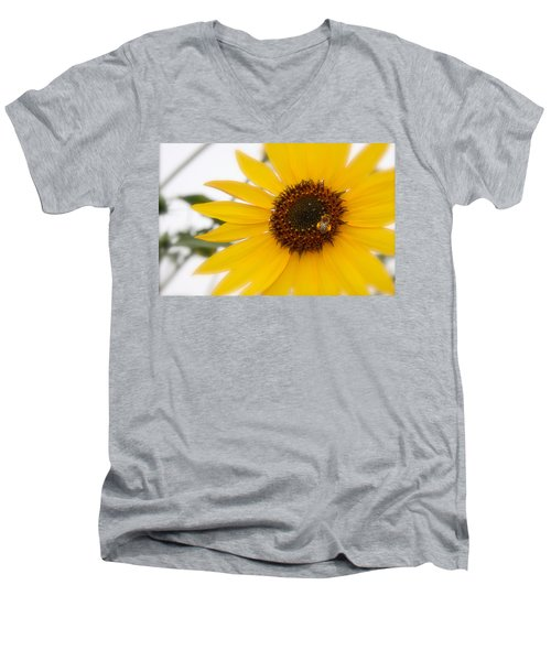 Men's V-Neck T-Shirt featuring the photograph Vivid Sunflower With Bee Fine Art Nature Photography  by Jerry Cowart
