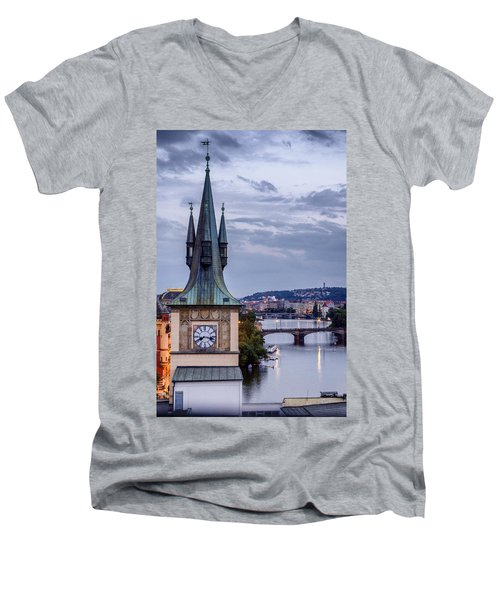Vltava River In Prague Men's V-Neck T-Shirt