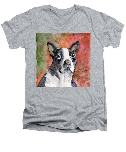 Men's V-Neck T-Shirt featuring the painting Vodka - French Bulldog by Faruk Koksal