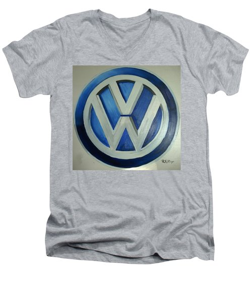 Vw Logo Blue Men's V-Neck T-Shirt