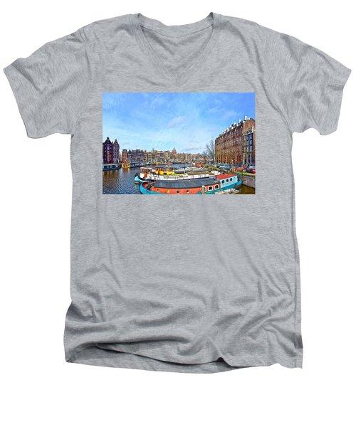 Waalseilandgracht Amsterdam Men's V-Neck T-Shirt by Frans Blok