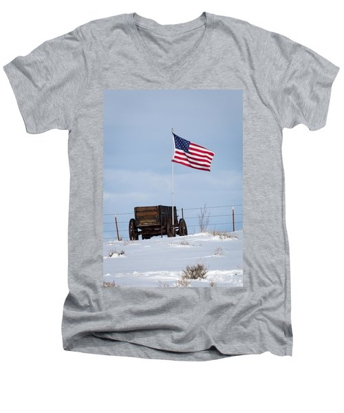 Wagon And Flag Men's V-Neck T-Shirt