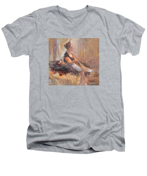 Waiting For Her Moment - Impressionist Oil Painting Men's V-Neck T-Shirt