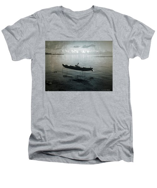 Men's V-Neck T-Shirt featuring the photograph Waiting In Blue by Lucinda Walter