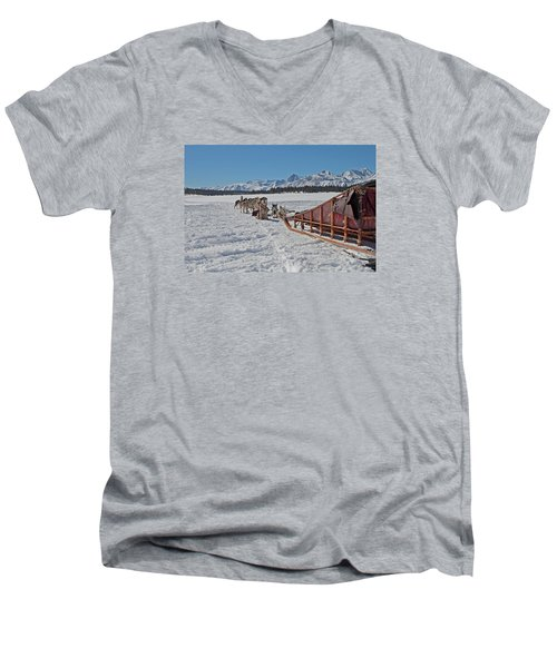 Waiting Sled Dogs  Men's V-Neck T-Shirt by Duncan Selby