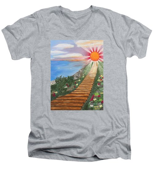 Men's V-Neck T-Shirt featuring the painting Waking Up Love by Cheryl Bailey