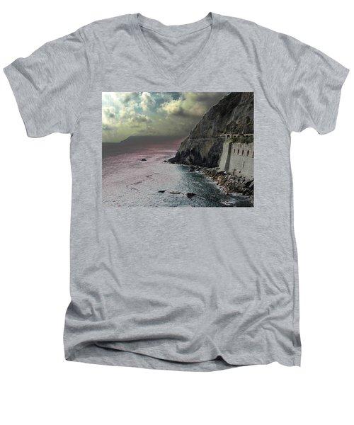 Men's V-Neck T-Shirt featuring the photograph Walk Of Love Riomaggiore by Natalie Ortiz
