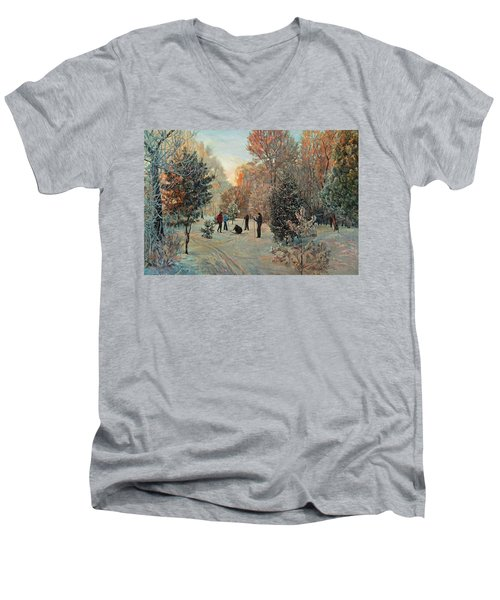 Walk To Skiing In The Winter Park Men's V-Neck T-Shirt