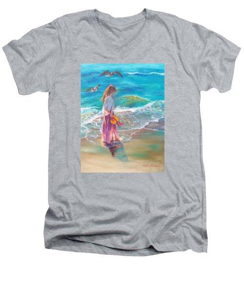 Walking In The Waves Men's V-Neck T-Shirt