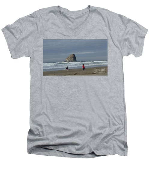 Men's V-Neck T-Shirt featuring the photograph Walking On The Beach by Susan Garren
