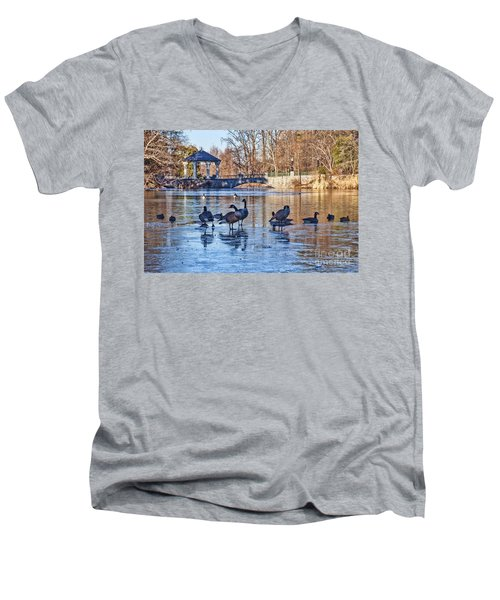 Walking On Thin Ice Men's V-Neck T-Shirt