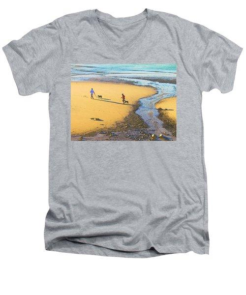 Walking The Dogs Men's V-Neck T-Shirt