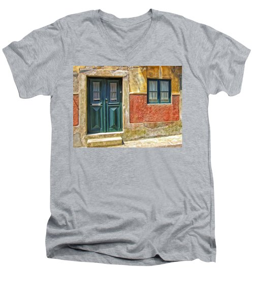 Walking Through Vila De Conde Men's V-Neck T-Shirt by Michael Pickett