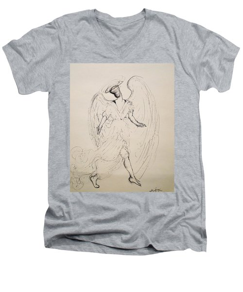 Walking With An Angel Men's V-Neck T-Shirt