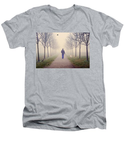Walking With The Dog Men's V-Neck T-Shirt