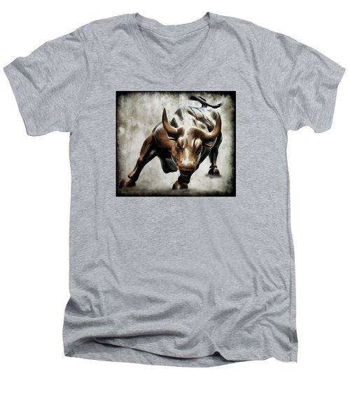 Wall Street Bull II Men's V-Neck T-Shirt by Athena Mckinzie