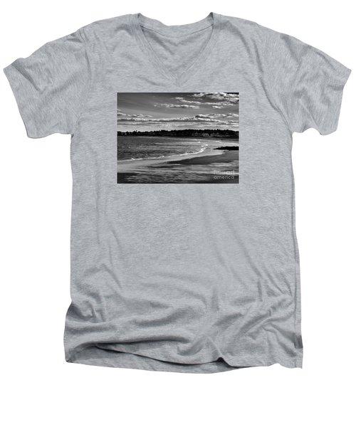 Wallis Beach Men's V-Neck T-Shirt by Marcia Lee Jones