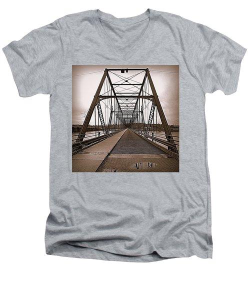 Walnut Street Bridge Men's V-Neck T-Shirt by Joseph Skompski