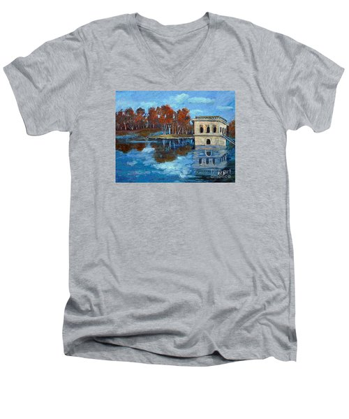 Men's V-Neck T-Shirt featuring the painting Waltham Reservoir by Rita Brown
