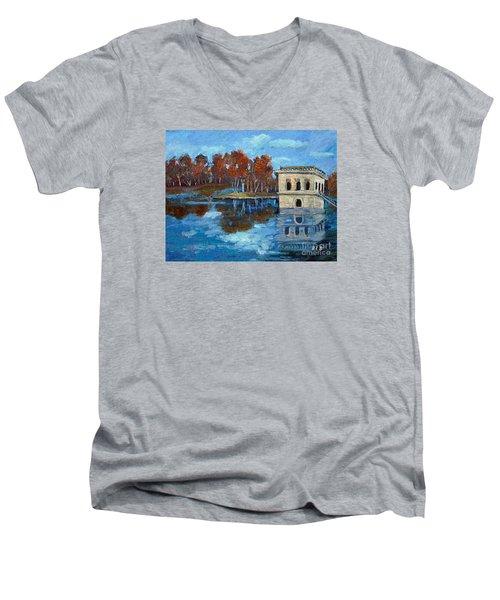 Waltham Reservoir Men's V-Neck T-Shirt by Rita Brown