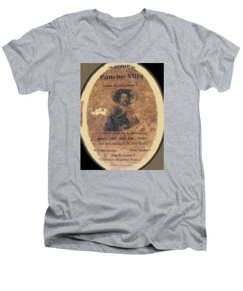 Wanted Poster For Pancho Villa After Columbus New Mexico Raid  Men's V-Neck T-Shirt