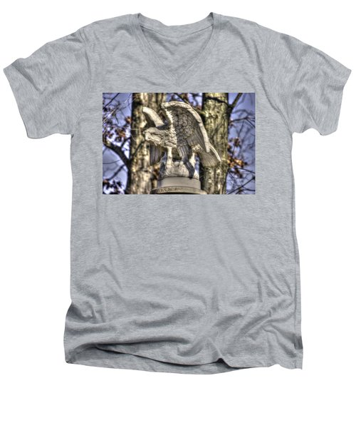 Men's V-Neck T-Shirt featuring the photograph War Eagles - Vermont Company F 1st U. S. Sharpshooters-a1 Pitzer Woods Gettysburg by Michael Mazaika